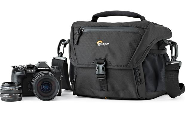 Lowepro Nova 160 AW II Shown with mirrorless camera and extra lens (not included)