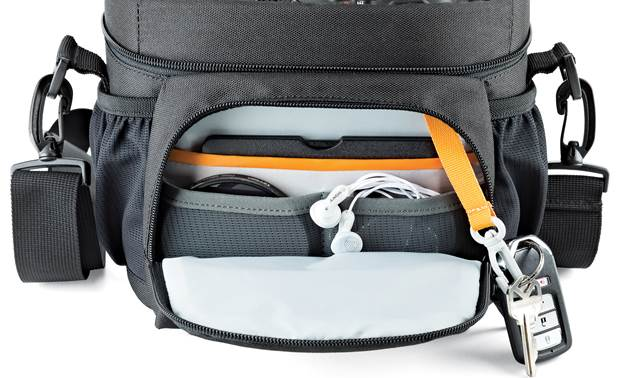 Lowepro Nova 160 AW II Zippered front compartment with slots for batteries, lens filters, and more