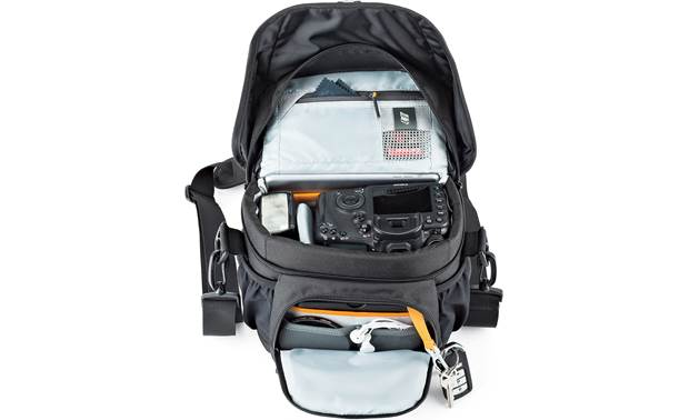 Lowepro Nova 160 AW II Shown with top flap and front compartment open