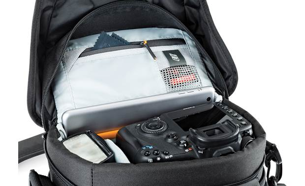 Lowepro Nova 160 AW II Interior zippered top flap compartment with memory card pocket