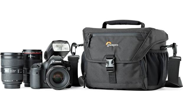 Lowepro Nova 180 AW II Shown with DSLR camera, 2 lenses, and a flash