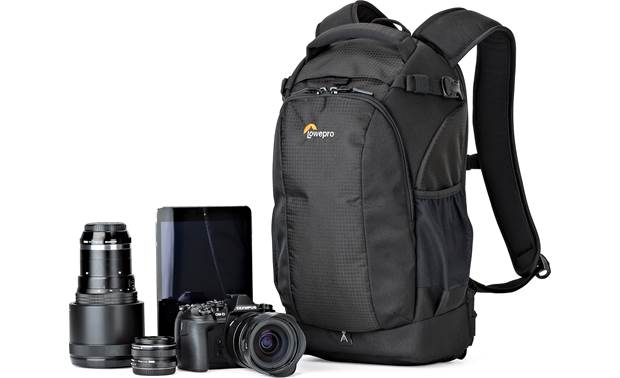 Lowepro Flipside 200 AW II Shown with mirrorless camera, two extra lenses, and tablet (gear not included)