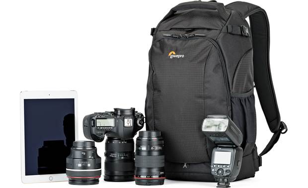 Lowepro Flipside 300 AW II Shown with a DSLR camera, two extra lenses, flash, and tablet (gear not included)