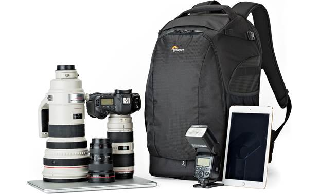 Lowepro Flipside 500 AW II Shown with DSLR camera, three lenses, tablet, and flash (gear not included)