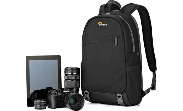 Lowepro m-Trekker BP 150 Shown with mirrorless camera, two extra lenses, and tablet (gear not included)