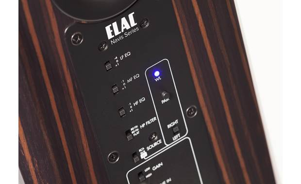 ELAC Navis™ ARB-51 Close up view of EQ switches and wireless pairing panel