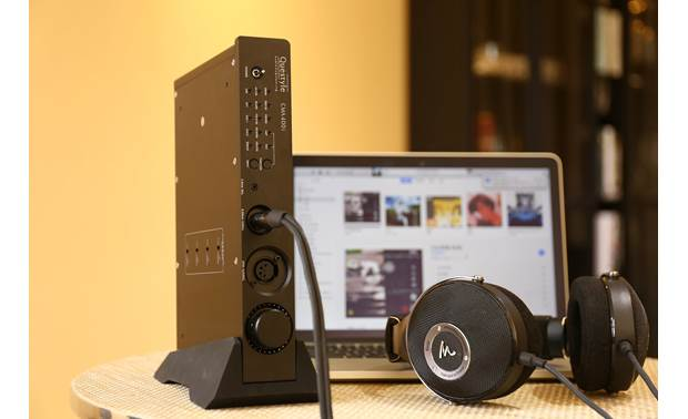 Questyle Audio CMA400i DAC High-performance class A headphone amplifier driving premium Focal Utopia headphones (not included)