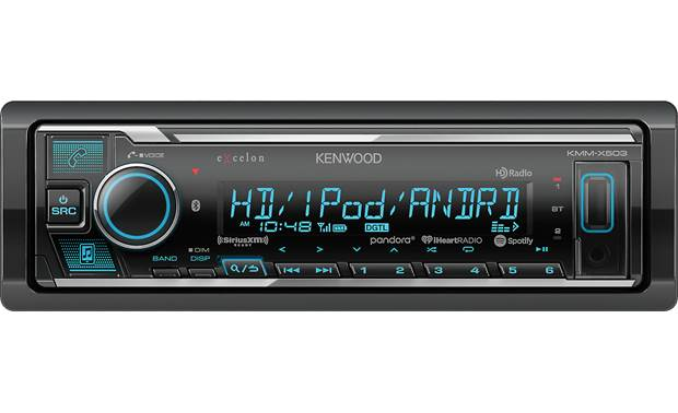 Kenwood Excelon KMM-X503 Source options include Bluetooth, SiriusXM, and HD Radio