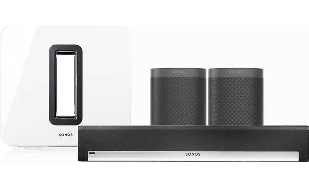 Sonos Playbar 5.1 Home Theater System with Voice Control Black/White Sub