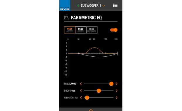 SVS SB-4000 Parametric EQ controls