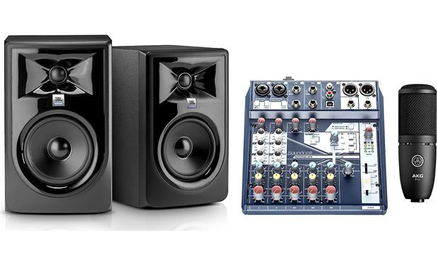 Harman Home Recording Bundle Includes powered studio monitors, mixer/interface, and mic