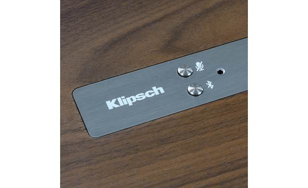 Klipsch The Three with Google Assistant Walnut - Bluetooth and mic/mute buttons detail