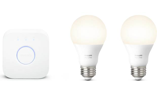 Philips Hue White A19 Starter Kit Provides dimmable warm white light