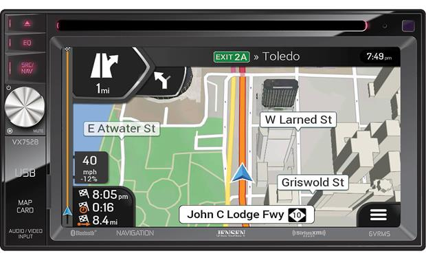 Jensen VX7528 Enjoy comprehensive GPS navigation with 11 million points of interest.