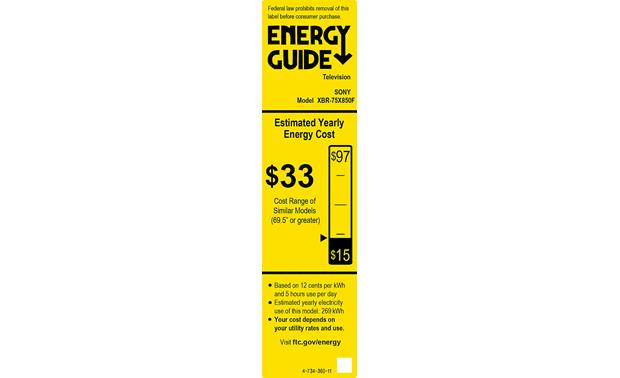 Sony XBR-75X850F Energy Guide
