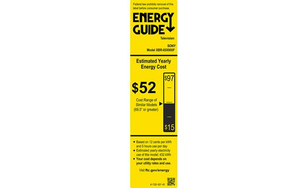 Sony XBR-85X900F Energy Guide