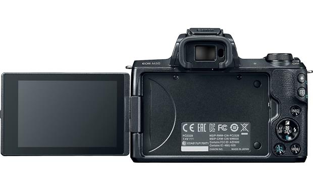 Canon EOS M50 Kit Back, with rotating touchscreen flipped out