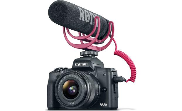 Canon EOS M50 Video Creator Kit Front, with microphone attached