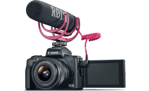Canon EOS M50 Video Creator Kit Front, with microphone attached and rotating touchscreen facing forward