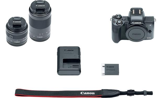 Canon EOS M50 Two Lens Kit Shown with included accessories