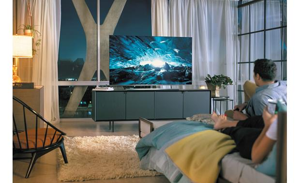 Samsung UN55NU8000 Shown on furniture
