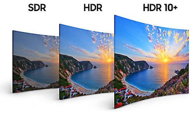 Samsung UN65NU8500 Compared to standard dynamic range (SDR), HDR 10 enhances overall picture contrast, while HDR 10+ improves scene-to-scene contrast
