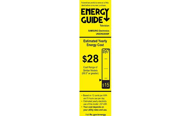Samsung UN82NU8000 Energy Guide
