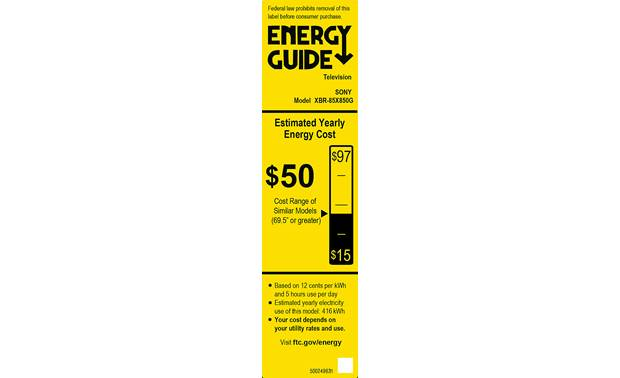 Sony XBR-85X850G Energy Guide