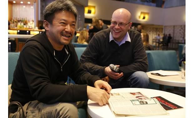 Sony DMP-Z1 Signature Series Sony's Tomo Sato and Crutchfield's Jeff Miller look through 1980s catalogs that feature Walkman cassette players