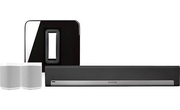 Sonos Playbar 5.1 Home Theater System with Voice Control Black Playbar & Sub/White speakers