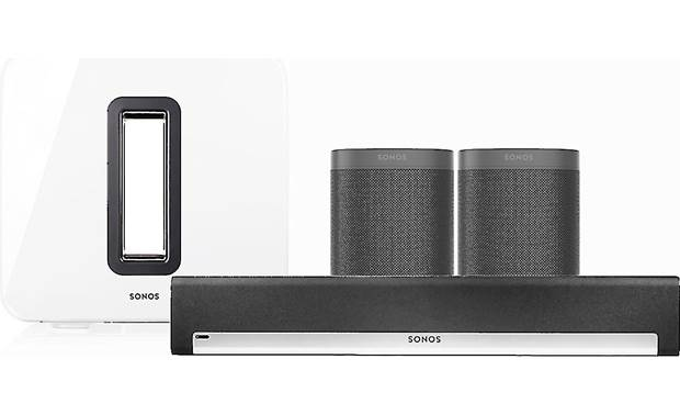 Sonos Playbar 5.1 Home Theater System with Voice Control Black Playbar & speakers/White Sub