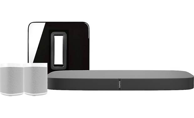 Sonos Playbase 5.1 Home Theater System with Voice Control Black Playbase & Sub/White speakers