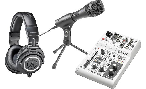 Audio-Technica/Yamaha eSports Gameplay Bundle Includes Audio-Technica ATH-M50x pro headphones,  Audio-Technica AT2020USB+ microphone, and Yamaha AG03 easy-recording mixer
