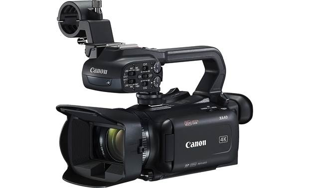 Canon XA40 Shown with included lens hood, handle unit, and microphone holder in place