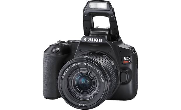 Canon EOS Rebel SL3 Kit Front, with pop-up flash deployed