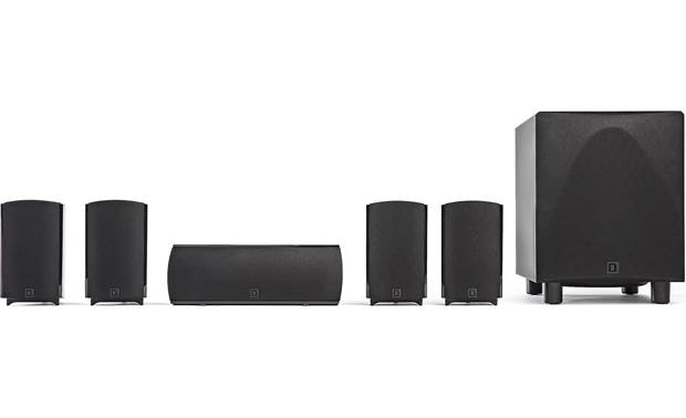 Definitive Technology ProCinema 6D Includes 4 satellite speakers, a center channel speaker, and a powered subwoofer