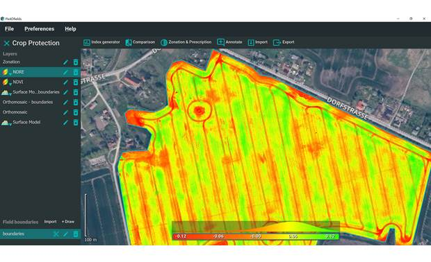 Parrot Bluegrass Fields Sequioa sensor generates RedEdge maps