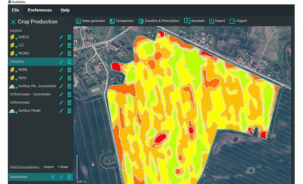 Parrot Bluegrass Fields Pix4DFields software generates zonation maps for precise fertilizer application