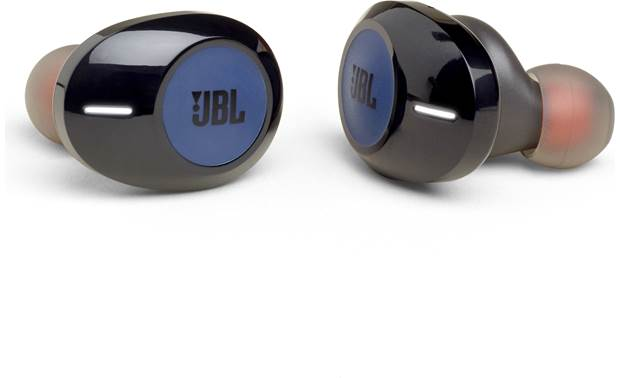 JBL Tune 120TWS Bluetooth headphones with no cord between the left and right earbud