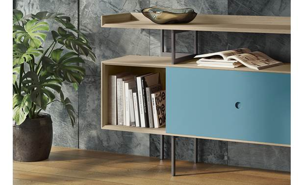 BDI Margo 5211 Console Drift Oak w/ Marine Door - storage for books or LPs (not included)