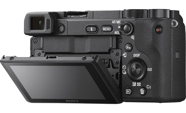 Sony Alpha a6400 Telephoto Lens Kit Shown with touchscreen tilted downward