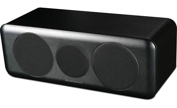 Wharfedale D300C Angled view with magnetic grilles in place