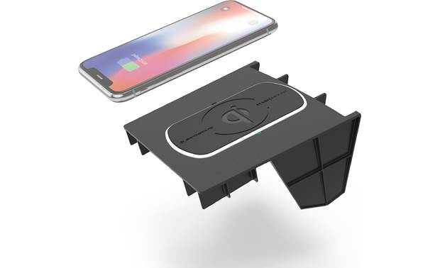 Scosche CRQ02 This Scosche wireless Qi charger fits in the center console location in your Jeep (phone not included)