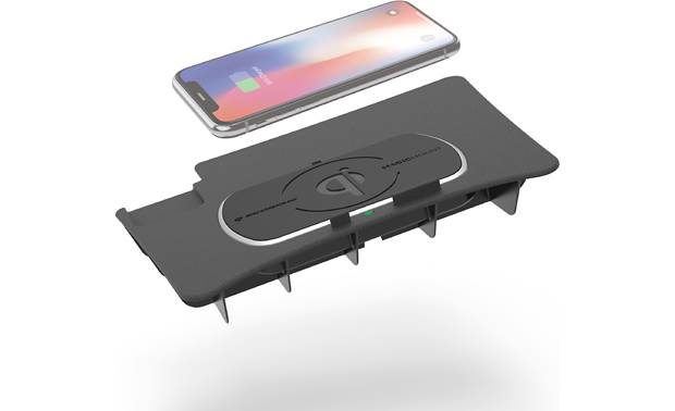 Scosche CRQ03 This Scosche wireless Qi charger fits in the center console location in your Dodge (phone not included)