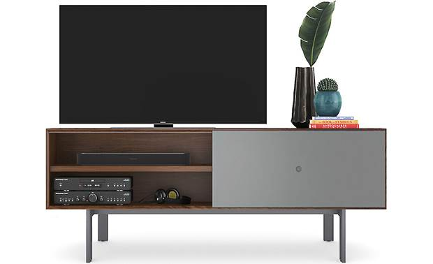 BDI Margo 5229 Toasted Walnut w/ Fog Gray Door - supports TVs up to 82
