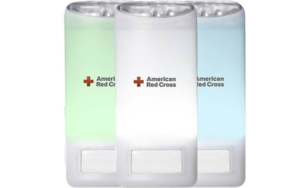 Eton American Red Cross Blackout Buddy Color One flashlight included; three shown to illustrate illumination colors