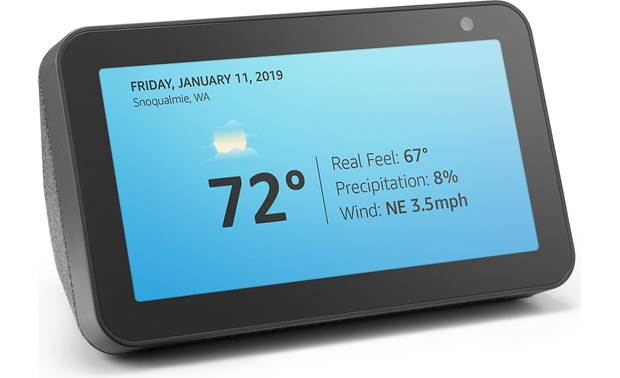 Amazon Echo Show 5 Charcoal - display time and temperature