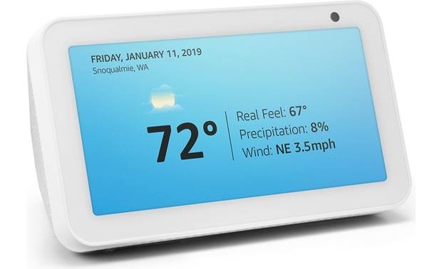 Amazon Echo Show 5 Sandstone - displays time and temperature