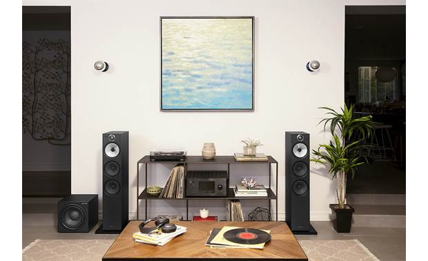 Bowers & Wilkins ASW610XP Shown as part of a hi-fi music system