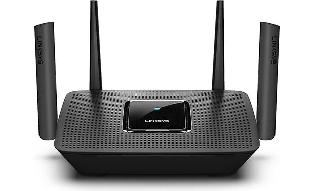 Linksys MR8300 four high-powered radio amplifiers with external antennas broadcast strong Wi-Fi signal